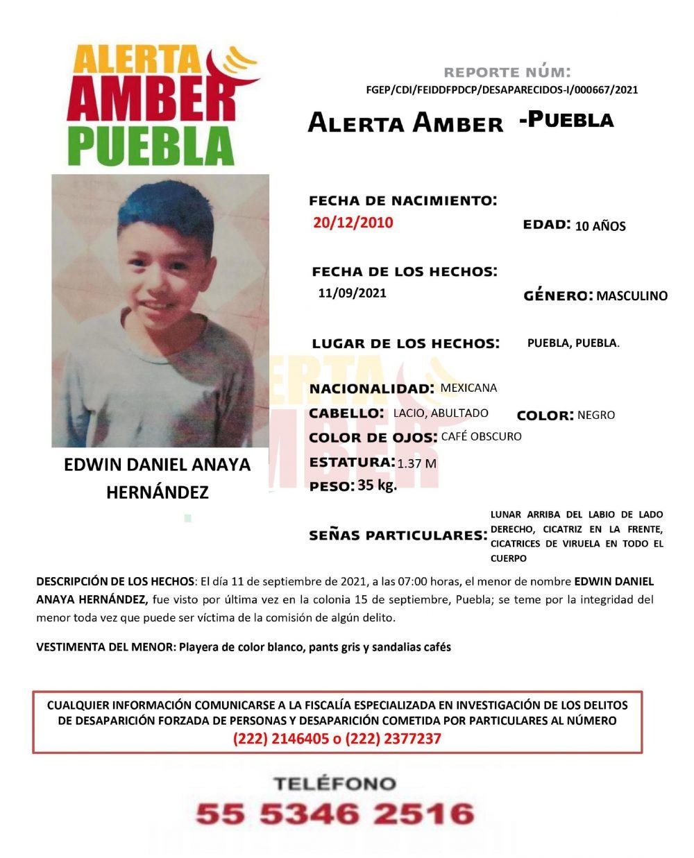 Se activa Alerta Amber para localizar a Edwin Daniel de 10 años