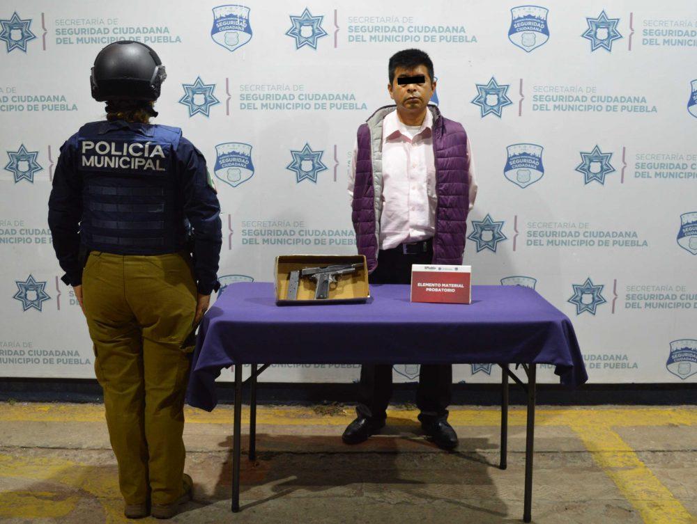Detuvo SSC de Puebla a hombre por portación ilegal de arma de fuego