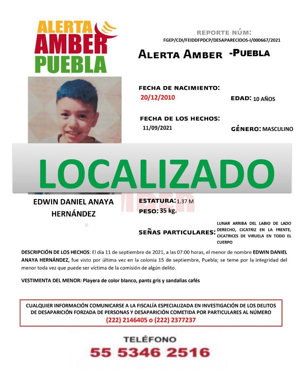 Resultado de Alerta Amber se localizó ileso a menor de 10 años de edad