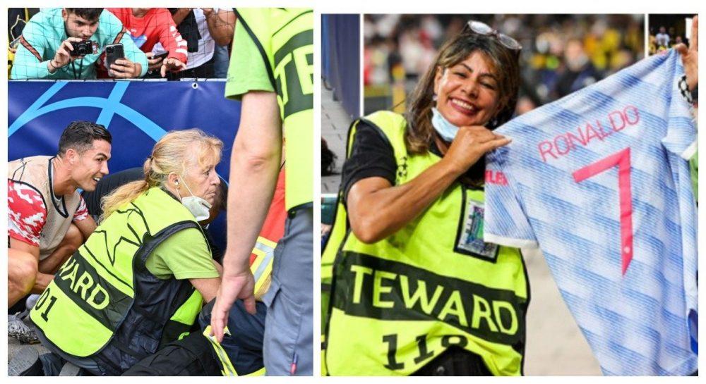 Cristiano le regaló su camiseta a una guardia de seguridad que golpeó con el balón